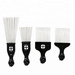 Popular Afro Combs Plastic Black Fist Metal Hair Fork Comb Stainless Steel Pins Hair Pick Comb