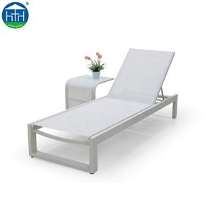 Mesh Stof Aluminium Frame Strand Zon Bed Chaise Lounge Zwembad Bed Outdoor Zonnebank Ligstoel