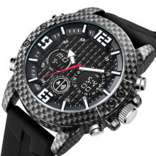 Military Watch Carbon Fiber Dial and Watch Case Rubber Strap 5ATM Water Resistant Mens Army Watch
