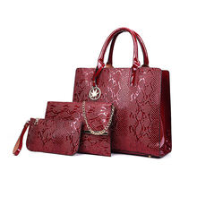 Latest american style 3 in 1 piece channel no logo lady's pu leather printed autumn ladies satchel handbags bag set for women