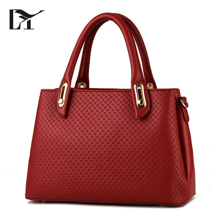 Wholesale China Cheap Trendy Ladies Office Maroon Premium Leather Handbag