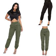 Dancing Hip pop Capris Pant Women Belt Army Green Black Color Harem Pants Casual Loose High Waist Cargo Pants Pantalon Femme