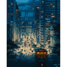 night scene of the city wall art decor diy painting by numbers for home decor