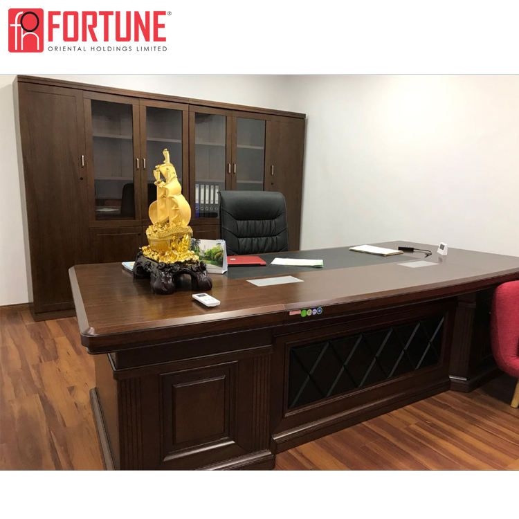 Classic design wood veneered office furniture china executive desk table set
