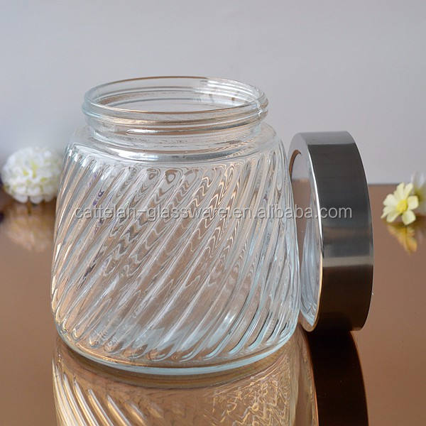 Wholesale machine pressed food storage container glass with custom print