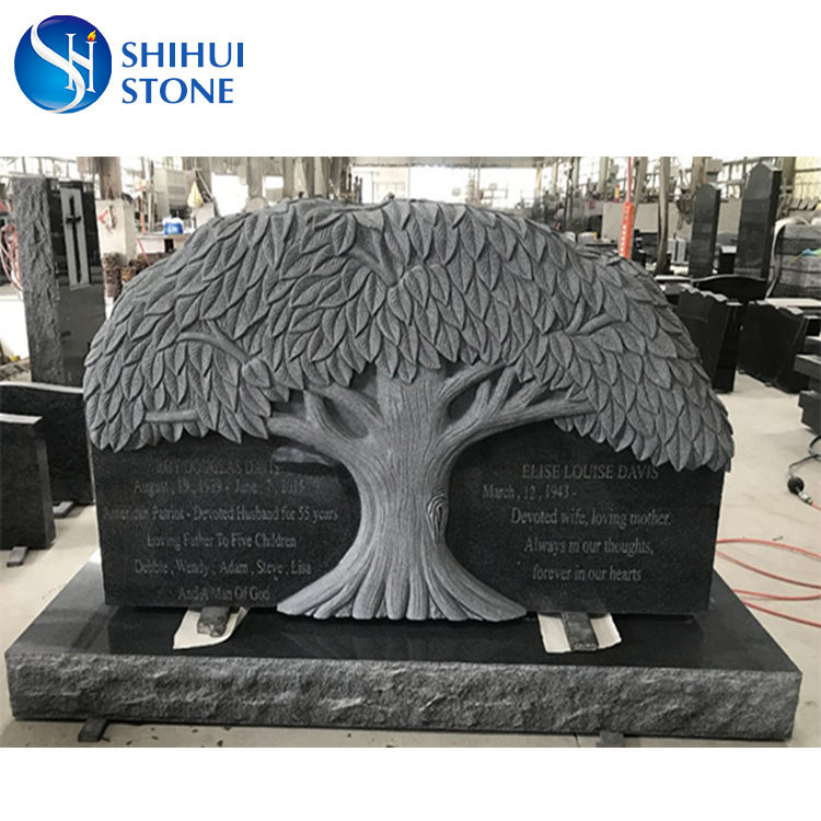 Best Price High Quality Granite Carved Tree Shaped Headstone,Engraving Tree Headstone,Gravestone Monument