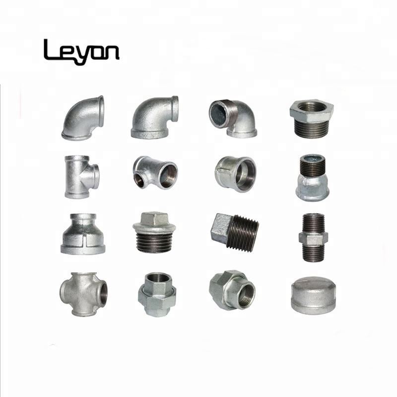 Hot dip galvanized pipe fitting malleable casting iron GI pipe plumbing materials elbow tee socket coupling fittings