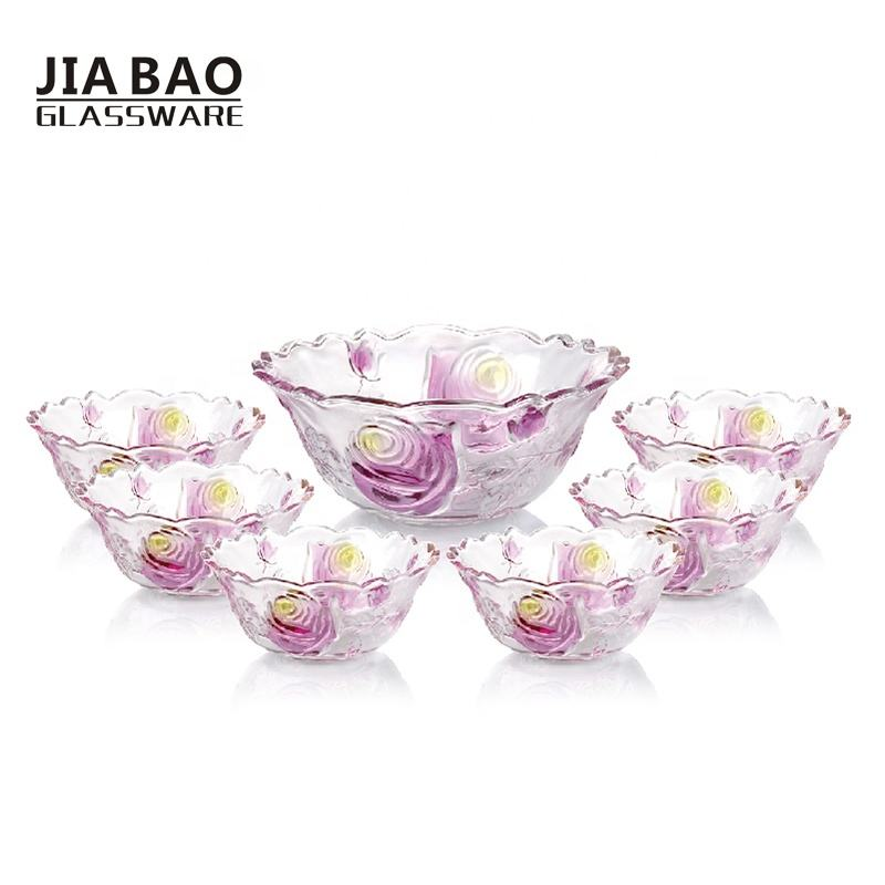 5PCS Color Sprayed Glass Salad Bowl Set TZ5-GB16006