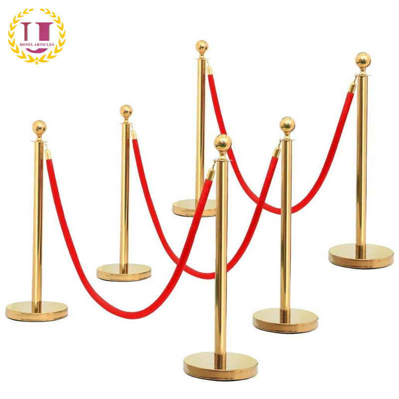 6 Pack Ball Top Gold Stanchions with Red Velvet Rope