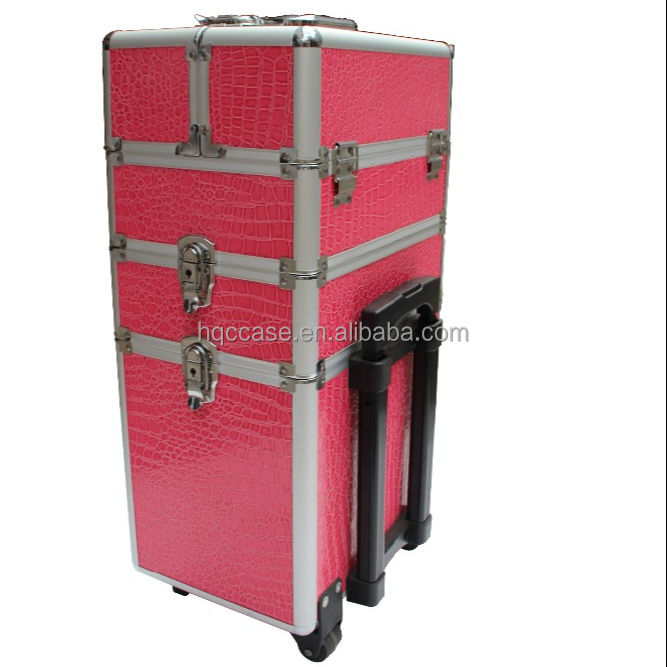 Personal Customization hard aluminum Artist large Cosmetic Makeup trolley cosmetic case With 2 Wheels