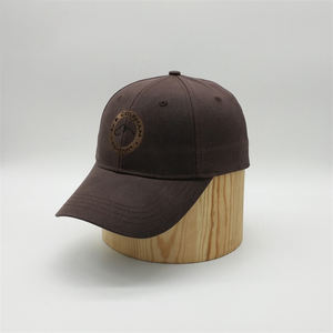Guangzhou Factory Custom 6 Panel Cotton Brown Embroidered Waxed Wax Baseball Caps Hat