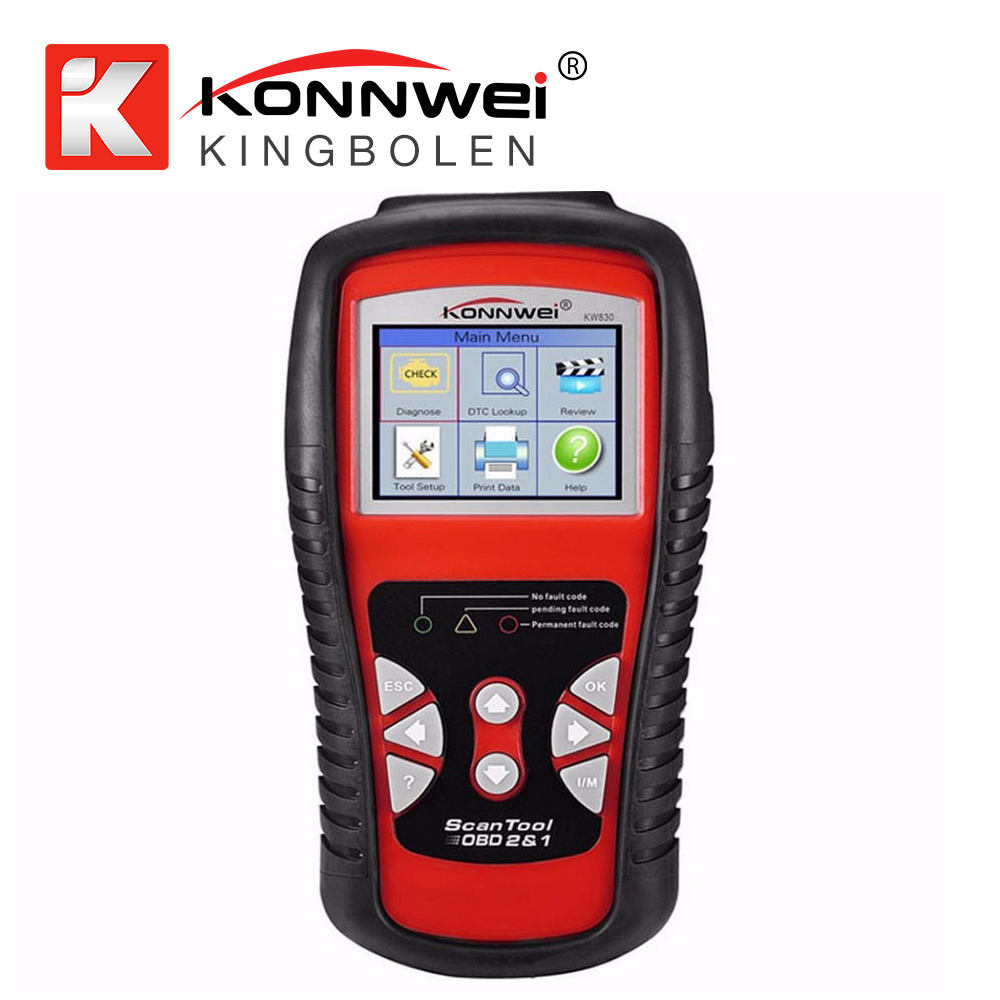 KONNWEI KW830 OBD2 EOBD Auto Fault Code Reader Scanner Automotive Diagnostic Scan Tool Met Batterij <span class=keywords><strong>tester</strong></span> Functie