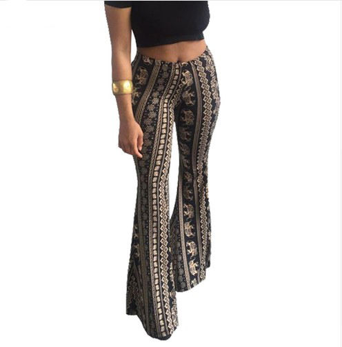 Boho Flare Pants Frauen Bohemian Fashion Lose Lange Hose Tribal Afrikanische Druck Breites Bein Hosen Bell-Bottom Leggings Hippie Hosen