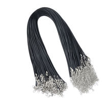 20pcs 2mm Alloy Wax Cord Black Leather Rope Chain Women Accessories for Necklace