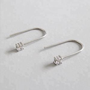 Fashion CZ Zircon 925 Silver U Shape Earring Simple Wedding Bridal Women Earrings