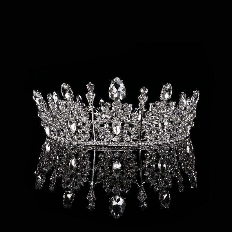 Alloy simple Factory sale pageant jewelry wedding dress elegant Party tiara princess rhinestone round Exquisite crystal crown
