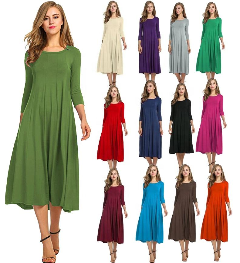 ecowalson Women's Long Sleeve Casual Loose T-Shirt Dress round neck swing dress