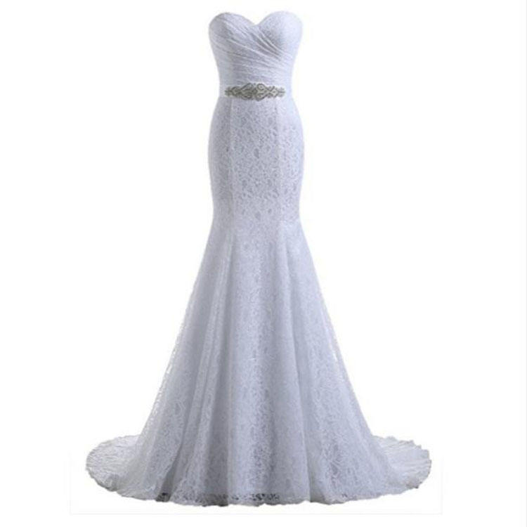Strapless Sweetheart neck lace mermaid crystal belt bridal wedding dress