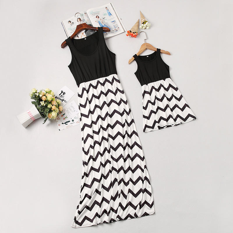 Frauen Lange Familie Maxi Sleeveless Chevron Wrap Kleid