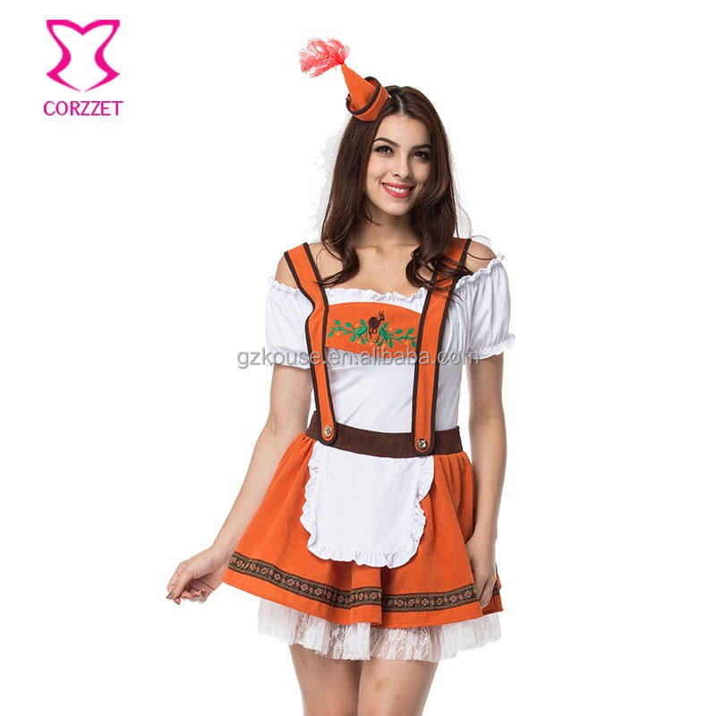 31648 Orange Fancy Dresses Skirts 2018 Halloween Cosplay Costumes White T-shirt+Skirts German TV&Movie Costumes Outfit Clothes
