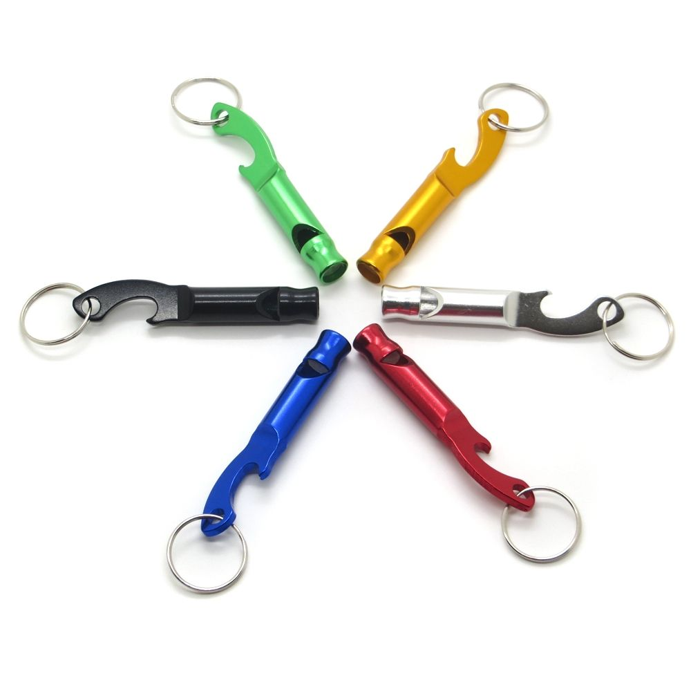 Aluminum Survival Whistle Emergency Waterproof Keychain Outdoor Sport Tool with Bottle Opener
