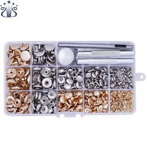L32 25pcs Practical DIY Leather Craft Tool with Die Punch Hole Snap Buttons Rivet Setter Base Kit