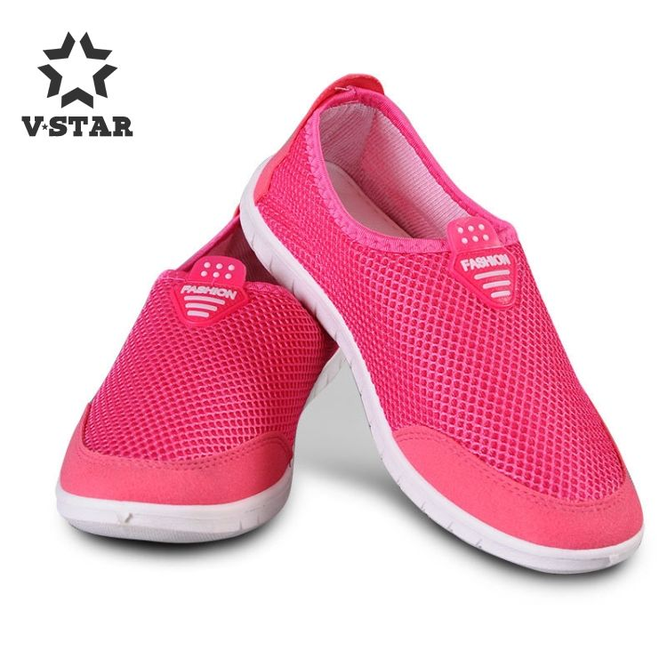 Last design comfortable pink women mesh slip-on casual shoes