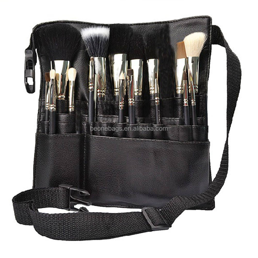Professional black leather makeup brush rolling case pouch holder