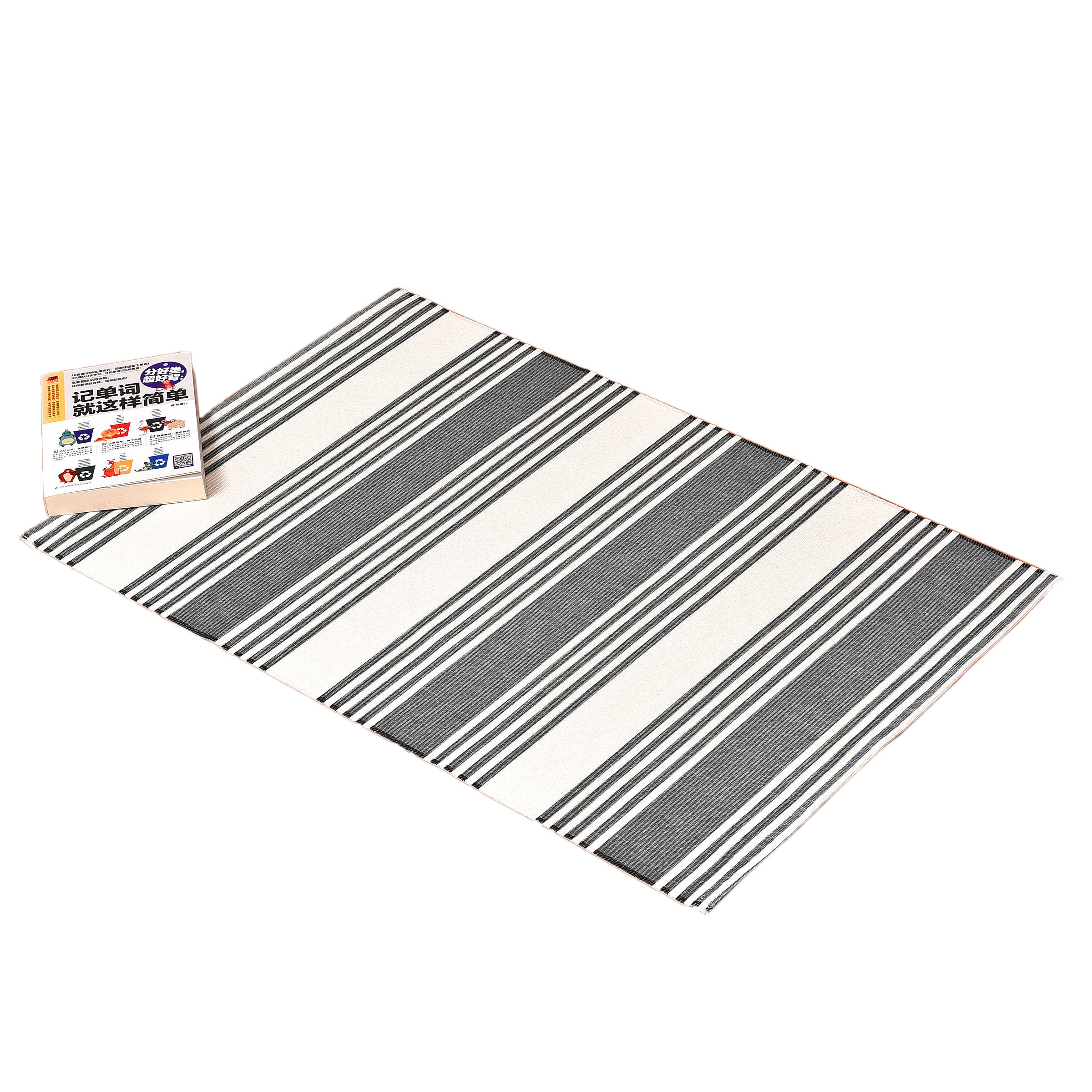 China factory direct washable home textile black and white striped mat design bedroom floor carpet and rug area rugs non-slip