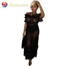 Plus Size Clothing For Black Women's Nightclub Sexy Long Skirt Word Shoulder Sexy Mesh Gauze 2019 Dress