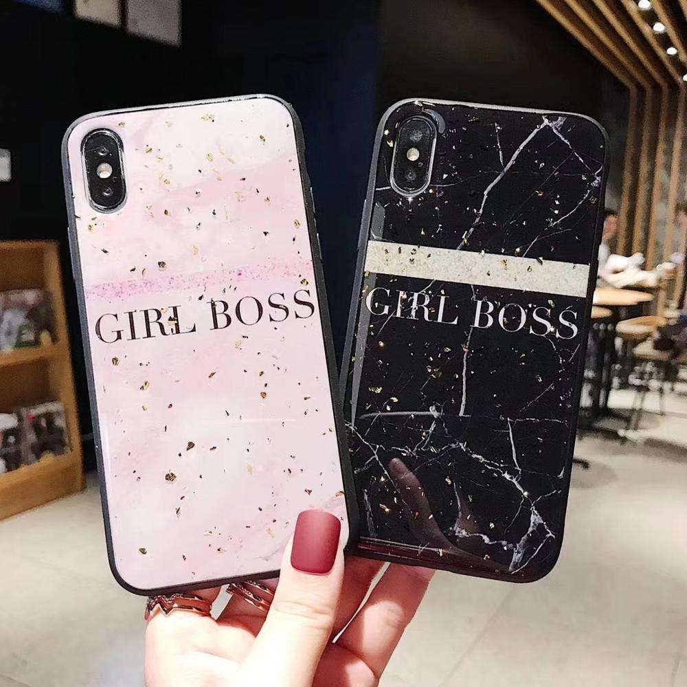 rubber gel coating gold foil flake girl boss phone case for iPhone 6 7 8 Plus X XS XR XS Max