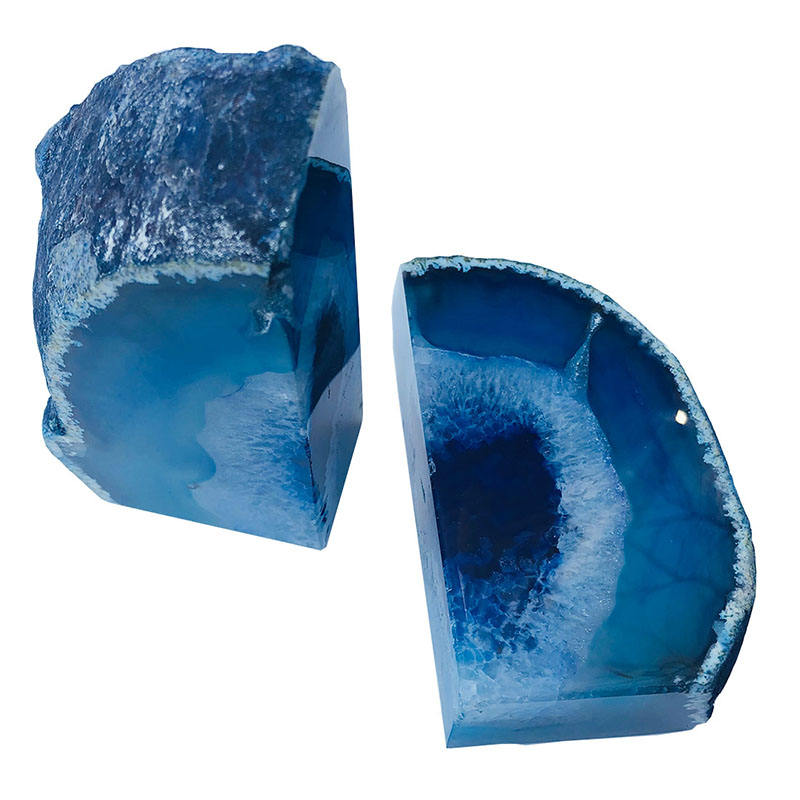 Blue 3Kgs Wholesale Agate Geode Gemstone Bookends