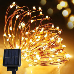 Waterproof Solar Powered 10 m 100 LED Copper Wire Starry String Lights For for Gardens, Patios, Homes, Parties