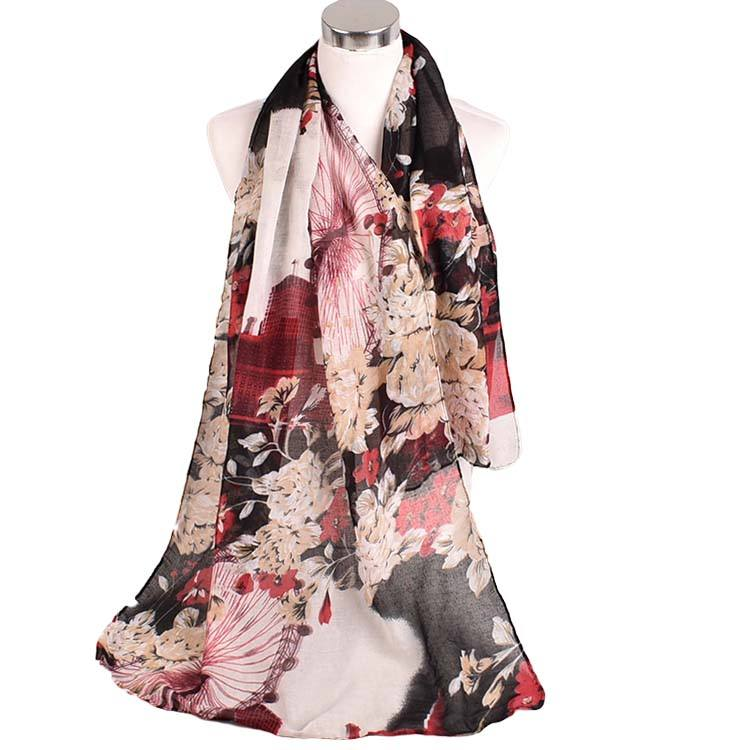 New Viscose pashmina scarf wholesale fashion cotton women Chinese style peony flower long women voile scarves