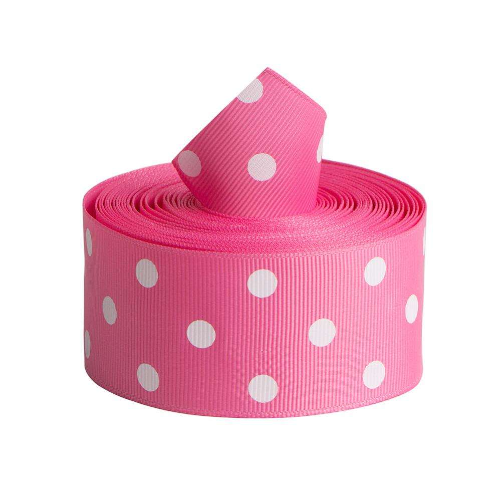 "38mm 1-1/2"" Polyester Pink Polka Dot Grosgrain Ribbon Wholesale"