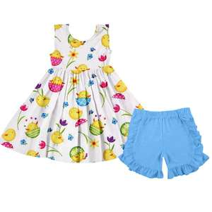 Fashion Summer Newest Design Outfits Kids Girls Lovely Printed Sleeveless Dress Match Ruffle Pants