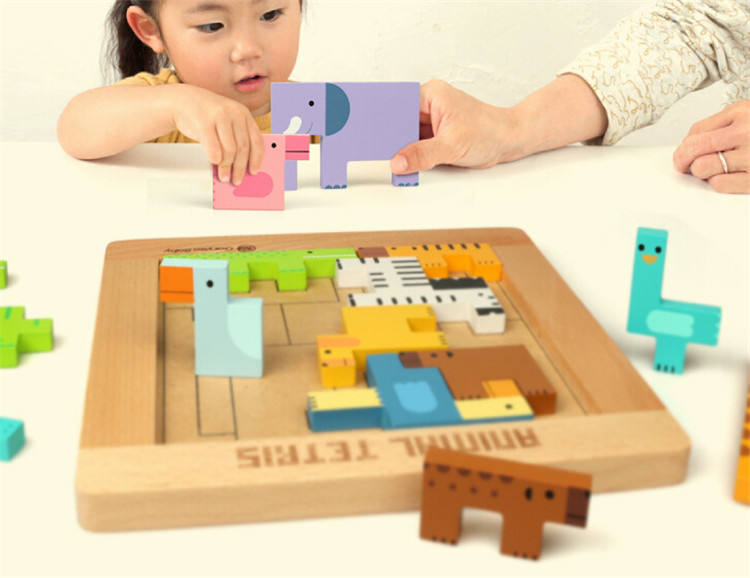 FQ brand kids bricks intellect Variety Children's Educational baby toys Wooden color Puzzle brick pass game Russia square