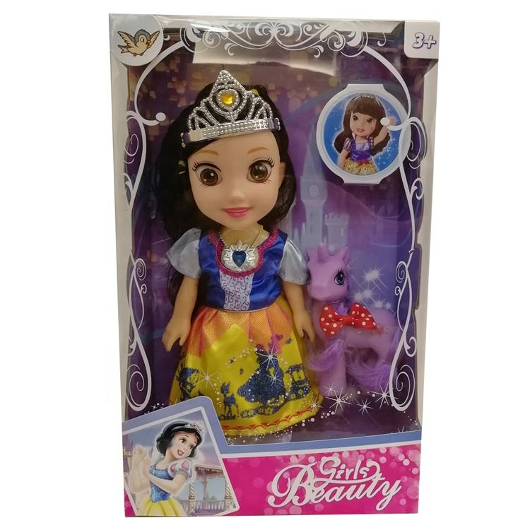 Snow White Princess 10 Inch Musical Doll Kid Toy With Little Horse Fairy Tale Cartoon Figure Pony Toys Girl Beauty Gift