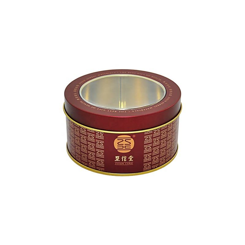 Round halloween empty aluminum cute metal tin box with clear window