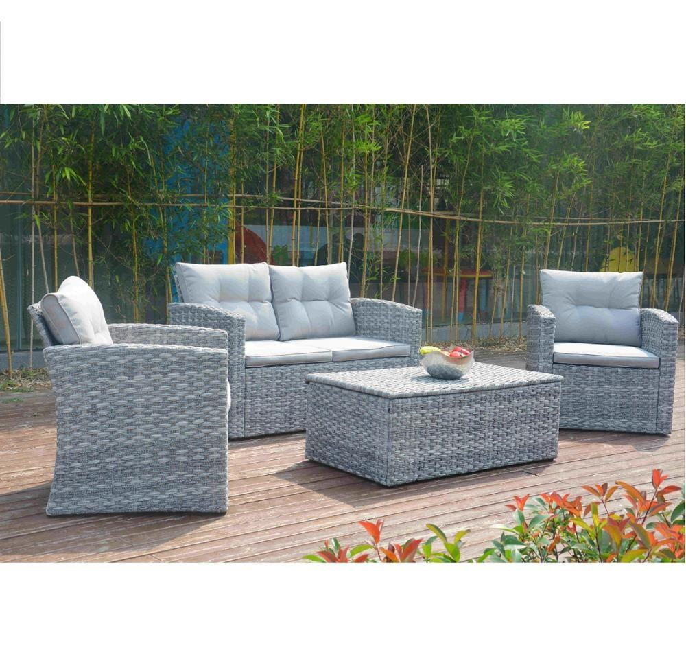 4PCS Steel Sofa Set With Cushion Box Promotional Product All Weather Outdoor Garden Patio Wicker Furniture