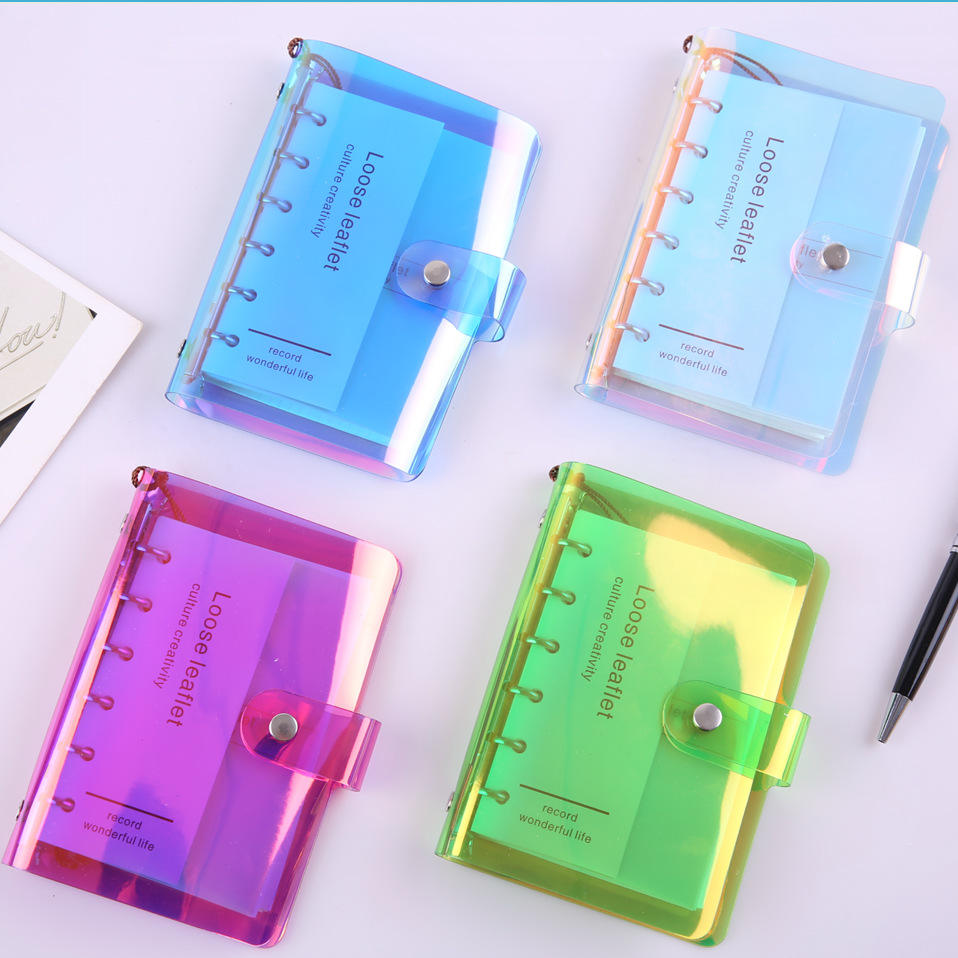 Laser PVC cover planner 6 rings binder diary notebook PVC refill cover journal colors PVC notebook