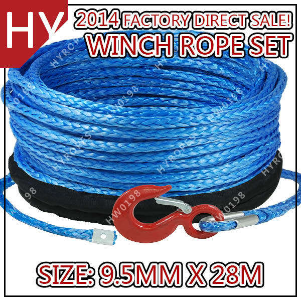 12 strand 9.5mm UHMWPE synthetic atv winch rope
