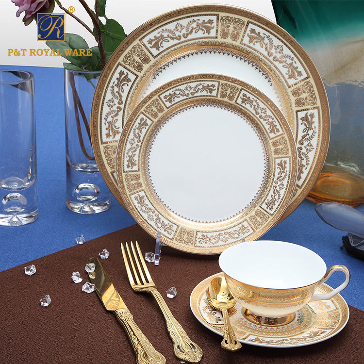 P&T Royal Ware Popular Design Bone China Decal Gold Dishes Plates for Dinner