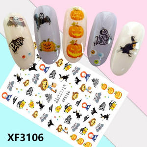 New arrival Self-adhesive Halloween skull 3d nail art stickers for holiday decoration XF3106-3120