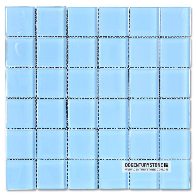 light blue square swimming pool mosaic glass tile