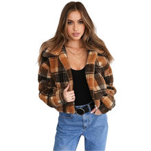 DCC-18736 fashion high quality winter plush plaid jacket fur women coats