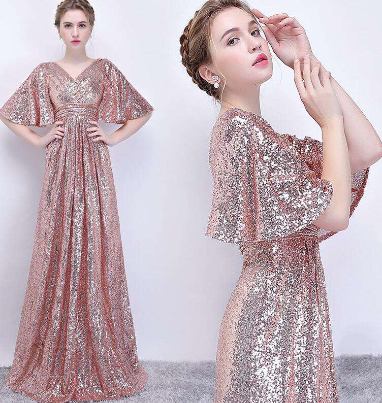 Graceful Lady Shiny Sequin Evening Dress Big Sleeves Shiny Sequin Evening Dress