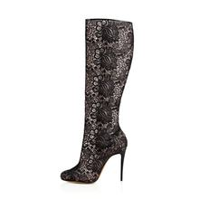 Woman Beautiful Floral Lace Pointed Toe High Boots Women Sexy Stiletto High Heel Hollow Out Boots