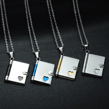 Creative Gift Pendant Openable Book Design Friendship Necklace