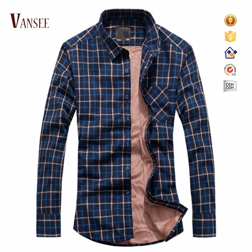 Long Sleeve Plaid Flannel Warm Shirt Fleece Lined Winter Warm Shirt